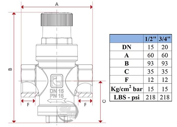 Чертеж редуктора давления Itap 360 Minipress