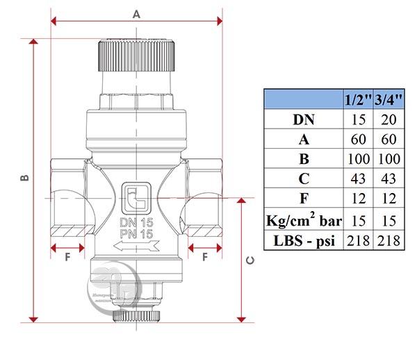 Чертеж редуктора давления Itap 361 Minipress