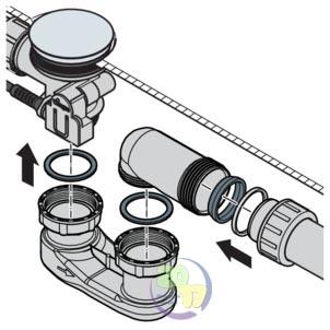 Подключение системы сточных вод сифона Simplex